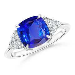 Cushion Cut Tanzanite Ring with Cluster Diamond Accents