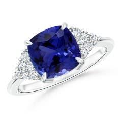 Cushion Tanzanite Ring with Diamond (GIA Certified Tanzanite)