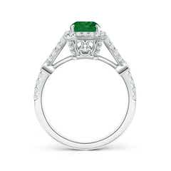 Toggle Split Shank Emerald-Cut Emerald Ring with Diamond Accents