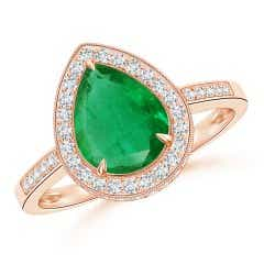 Vintage Style GIA Certified Emerald Halo Ring with Milgrain