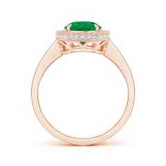 Toggle Vintage Style GIA Certified Emerald Halo Ring with Milgrain