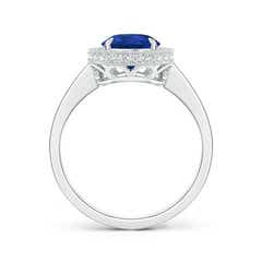 Toggle Vintage Style Blue Sapphire Halo Ring with Milgrain