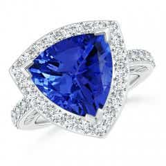 Trillion Tanzanite Halo Ring
