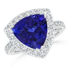 GIA Certified Trillion Tanzanite Halo Ring