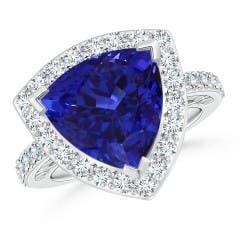 GIA Certified Trillion Tanzanite Halo Ring
