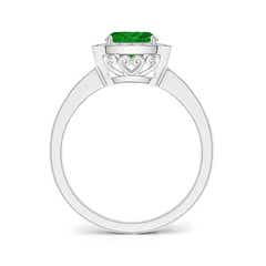 Toggle Cushion Emerald Engagement Ring with Diamond Accents