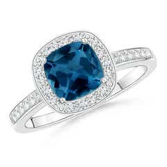 Cushion London Blue Topaz Halo Ring with Diamonds