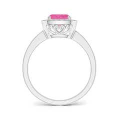Toggle Cushion Pink Sapphire Engagement Ring with Diamond Accents