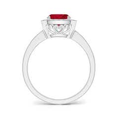 Toggle Cushion Ruby Engagement Ring with Diamond Accents