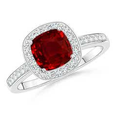 Cushion Ruby Engagement Ring with Diamond Accents