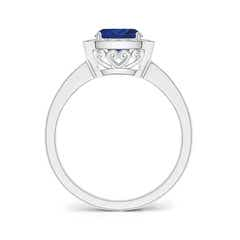 Toggle Cushion Blue Sapphire Engagement Ring with Diamond Accents