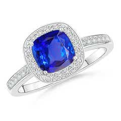 Cushion Tanzanite Engagement Ring with Diamond Accents