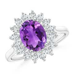 Oval Amethyst Ring with Floral Diamond Halo