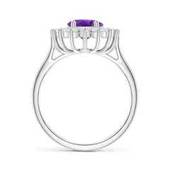 Toggle Oval Amethyst Ring with Floral Diamond Halo