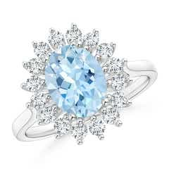Oval Aquamarine Ring with Floral Diamond Halo