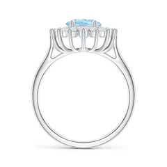 Toggle Oval Aquamarine Ring with Floral Diamond Halo