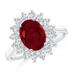 Oval Garnet Ring with Floral Diamond Halo