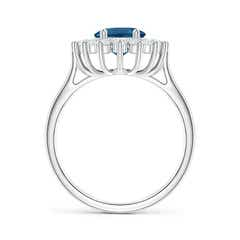 Toggle Oval London Blue Topaz Ring with Floral Diamond Halo