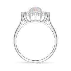 Toggle Oval Opal Ring with Floral Diamond Halo