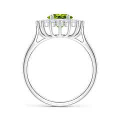 Toggle Oval Peridot Ring with Floral Diamond Halo