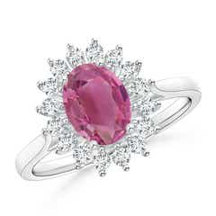 Oval Flower Pink Tourmaline Ring with Halo Diamond
