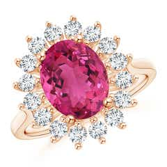 Oval Pink Tourmaline Ring with Floral Halo