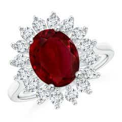GIA Certified Oval Ruby Ring with Floral Diamond Halo