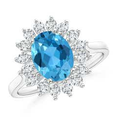 Oval Swiss Blue Topaz Ring with Floral Diamond Halo