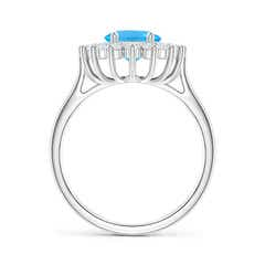 Toggle Oval Swiss Blue Topaz Ring with Floral Diamond Halo