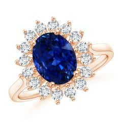 GIA Certified Oval Sapphire Ring with Floral Diamond Halo