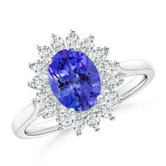 Oval Tanzanite Ring with Floral Diamond Halo