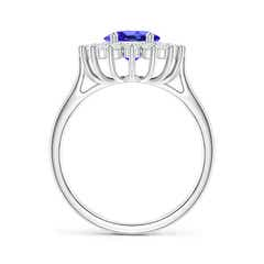Toggle Oval Tanzanite Ring with Floral Diamond Halo