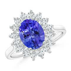 Oval Flower Tanzanite and Diamond Halo Ring