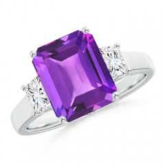 Three Stone Emerald-Cut Amethyst and Diamond Ring