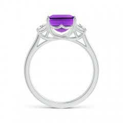 Toggle Three Stone Emerald-Cut Amethyst and Diamond Ring