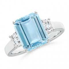 Three Stone Emerald-Cut Aquamarine and Diamond Ring