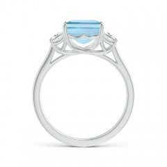 Toggle Three Stone Emerald-Cut Aquamarine and Diamond Ring