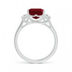Toggle Three Stone Emerald-Cut Garnet and Diamond Ring
