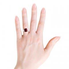 Three Stone Emerald-Cut Garnet and Diamond Ring