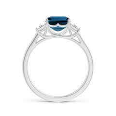 Toggle Three Stone Emerald-Cut London Blue Topaz and Diamond Ring