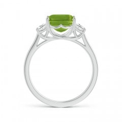 Toggle Three Stone Emerald-Cut Peridot and Diamond Ring