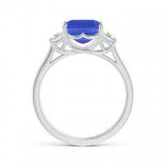 Toggle Three Stone Emerald-Cut Tanzanite and Diamond Ring