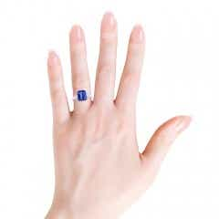 Three Stone Emerald-Cut Tanzanite and Diamond Ring