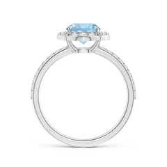 Toggle Vintage Style Claw-Set Round Aquamarine Halo Ring