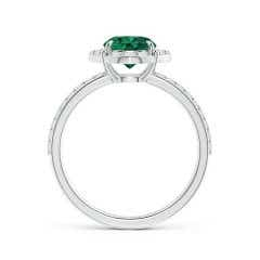 Toggle Vintage Style Claw-Set GIA Certified Round Emerald Halo Ring