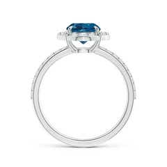 Toggle Vintage Style Claw-Set Round London Blue Topaz Halo Ring