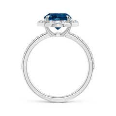 Toggle Vintage Style Claw-Set Round London Blue Topaz Halo Ring