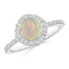 Claw-Set Vintage Diamond Halo Round Opal Ring