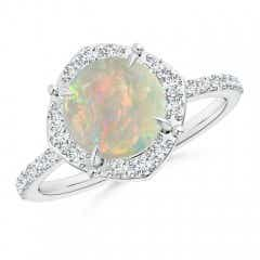 Vintage Style Claw-Set Round Opal Halo Ring