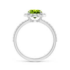Toggle Vintage Style Claw-Set Round Peridot Halo Ring